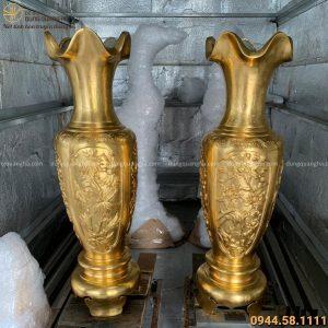 Lọ lục bình bằng đồng vàng cattut thếp vàng 9999 cao 1m27