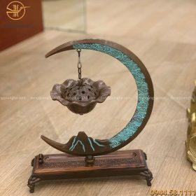 Lư đốt trầm hương treo mặt trăng 33x25cm đồng vàng giả cổ