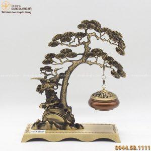 Lư đốt trầm treo cây tùng bằng đồng vàng đế chữ nhật 29x23cm