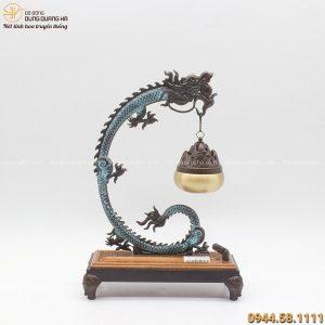 Lư xông trầm bằng đồng vàng tạo hình treo rồng 30x20cm