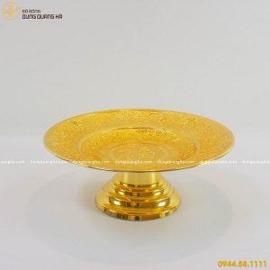 Mâm bồng bằng đồng thếp vàng 9999 tinh xảo