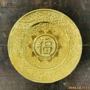 Mâm bồng chữ Phúc bằng đồng mạ vàng 24k hoa văn cổ kính