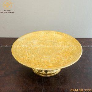 Mâm bồng long phụng bằng đồng vàng mạ vàng 24k tinh xảo