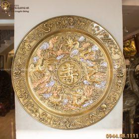 Mâm tứ linh chữ Thọ bằng đồng giả cổ đường kính 52cm