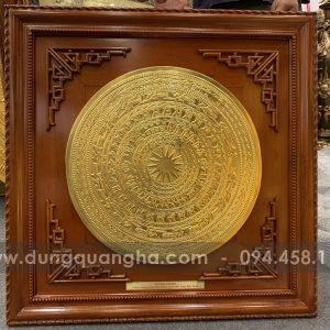 Mặt trống đồng đỏ thếp vàng khung 81cm gỗ gụ