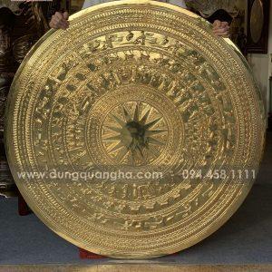 Mặt trống đồng phong thủy đường kính 1m27 mạ vàng