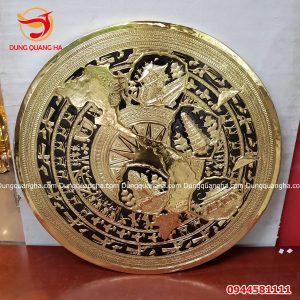 Mặt trống đồng trang trí đồng vàng có bản đồ