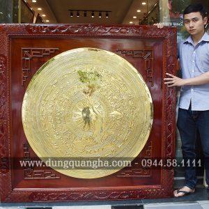 Mặt trống đồng treo tường mạ vàng 1m2 tinh xảo