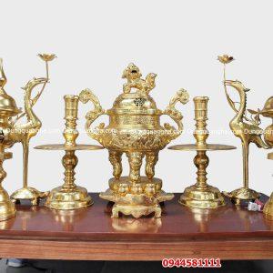 Mẫu đỉnh đồng đẹp thếp vàng 9999 cao cấp