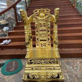 Ngai thờ đồng đỏ dát vàng 9999 cao 80cm ngang 50cm sâu 39cm