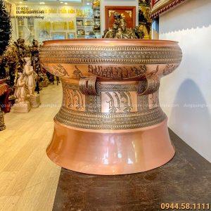 Quả trống đồng cổ kính hoa văn tinh xảo bằng đồng đỏ