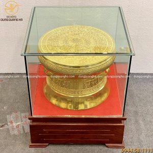 Quả trống đồng mạ vàng 24k bằng đồng đỏ đường kính 40cm