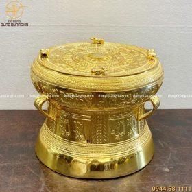 Quả trống đồng mạ vàng đường kính 20cm độc đáo, tinh xảo