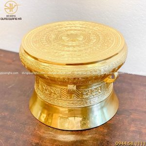 Quả trống đồng quà tặng bằng đồng đỏ cao 30cm dát vàng 9999