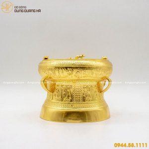 Quả trống đồng quà tặng thếp vàng 9999 đẹp tinh xảo