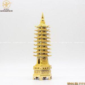 Tháp Văn Xương 9 tầng bằng đồng mạ vàng 24k cao 30cm