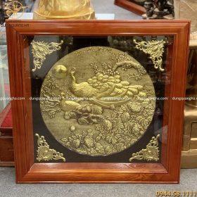 Tranh chim công hoa mẫu đơn 80x80cm - đôi chim công dát vàng