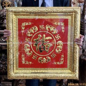 Tranh chữ Phúc mạ vàng 24k khung liền đồng vuông 60cm