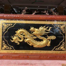 Tranh chữ Tâm hóa rồng thếp vàng kích thước 2m3 x 1m2