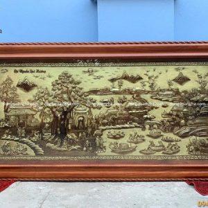 Tranh Cội Nguồn Quê Hương bằng đồng 2m3 khung gỗ gụ