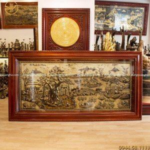 Tranh Cội Nguồn Quê Hương bằng đồng vàng giả cổ 2m3