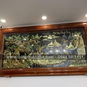 Tranh đồng Bát Hạc Quần Tùng 1m7 x 90