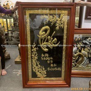 Tranh đồng chữ Phúc 1m25 x 75cm mạ vàng 24k khung gỗ hương
