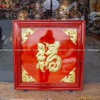 Tranh đồng chữ Phúc hóa rồng mạ vàng khung gỗ tùng