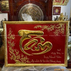 Tranh đồng chữ Tâm thếp vàng 9999 kích thước 1m47 x 1m07
