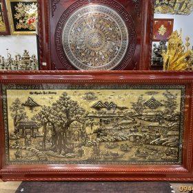 Tranh đồng Cội Nguồn Quê Hương xước giả cổ độc đáo 1m7 x 90cm