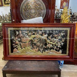 Tranh đồng Hoa Khai Phú Quý mạ tam khí kích thước 1m7 x 90cm