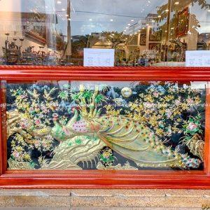 Tranh đồng Hoa Khai Phú Quý vẽ màu khung gỗ cao cấp