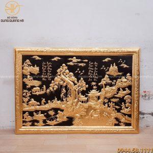 Tranh đồng quê khung liền đồng dát vàng cả khung 127x88cm