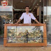 Tranh đồng Vinh Hoa Phú Quý khung gỗ 1m7