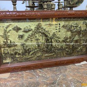 Tranh đồng Vinh Quy Bái Tổ đúc tay 2m3 khung gỗ gụ