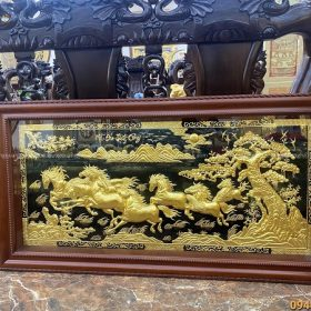 Tranh Mã Đáo Thành Công đẹp 1m7 x 90cm thếp vàng 9999