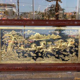 Tranh Mã Đáo Thành Công thếp vàng 9999 kích thước 2m3 x 1m2