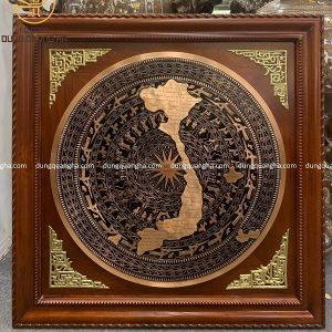 Tranh mặt trống đồng đỏ bản đồ Việt Nam khung gỗ 91cm