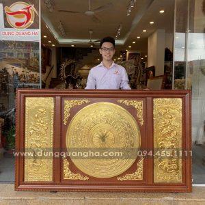Tranh mặt trống đồng khung gỗ thếp vàng tinh xảo dài 2m3