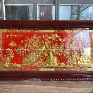 Tranh Ngọc Đường Phú Quý 1m7 x 90cm dát vàng nền sơn đỏ