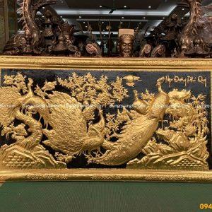 Tranh Ngọc Đường Phú Quý 2m3 bằng đồng dát vàng 9999