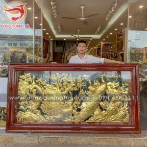 Tranh Ngọc Đường Phú Quý bằng đồng mạ vàng đẹp tinh xảo