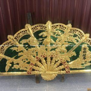 Tranh quạt mai điểu tùng hạc 1m55 mạ vàng 24k độc đáo