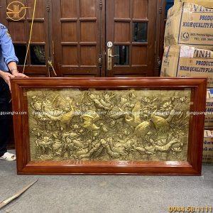 Tranh sen hạc 1m7 x 90cm, mỗi con hạc trong tranh được dát vàng