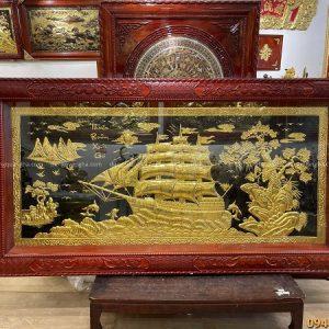 Tranh Thuận Buồm Xuôi Gió 2m3 thếp vàng 9999 khung gỗ hương
