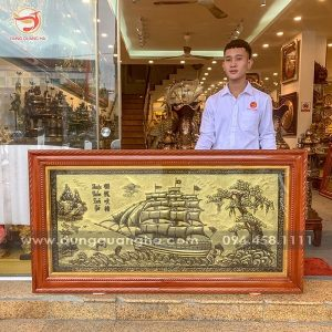 Tranh Thuận Buồm Xuôi Gió đẹp bằng đồng xước giả cổ