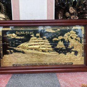 Tranh Thuận Buồm Xuôi Gió thếp vàng 9999 kích thước 1m7x90cm