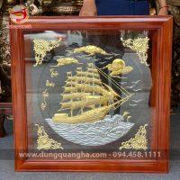 Tranh thuận buồm xuôi gió vuông 81cm mạ vàng 24k