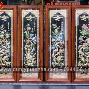 Tranh Tứ quý đẹp khung gỗ cao 1m2