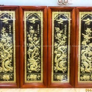 Tranh Tứ Quý đồng vàng nền đen dát vàng khung gỗ 1m2 x 40cm